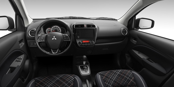 The front driver-side interior of the new 2021 Mitsubishi Mirage.
