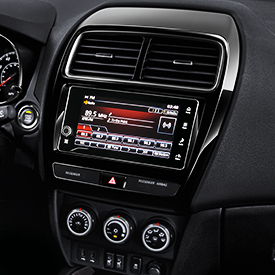 Close up of the technology features inside the 2019 Mitsubishi Outlander Sport SUV.