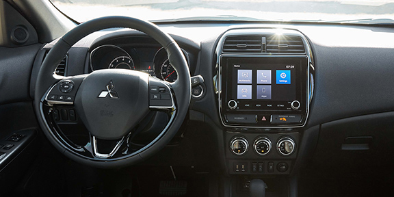 Mitsubishi Outlander Sport dashboard and steering wheel close up