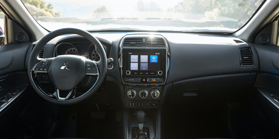 A close up of the front passenger side of a Mitsubishi Outlander Sport 2021 interior.