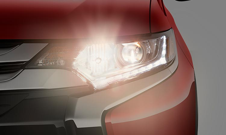 LED front headlights on 2016 Mitsubishi Outlander CUV for improved safety