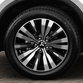 Close up of the wheels on the 2019 Mitsubishi Outlander SUV.