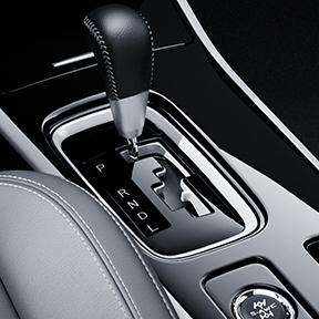 Close up of the leather shift knobs inside the 2019 Mitsubishi Outlander SUV.