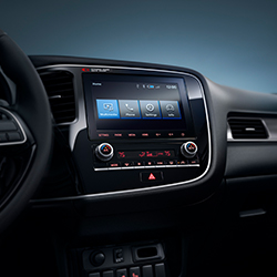 Interior view of the infotainment display inside the 2020 Mitsubishi Outlander SUV.