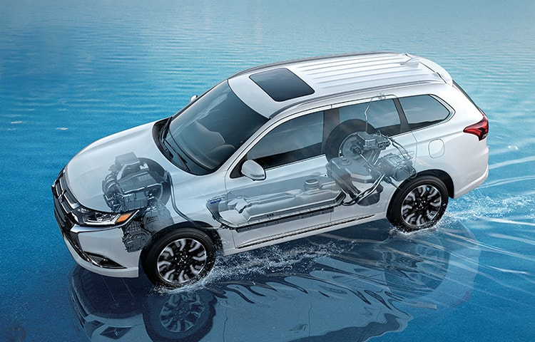 Overview of the 2018 Mitsubishi Outlander PHEV's twin electric motors and all wheel control system