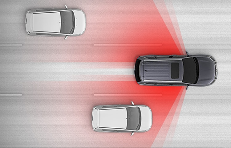 Animation of Mitsubishi's Blind Spot Warning and Lane Change Assist safety feature