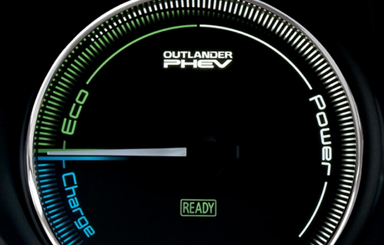 The eco/power zone shows the total power of the motors and engine during driving.