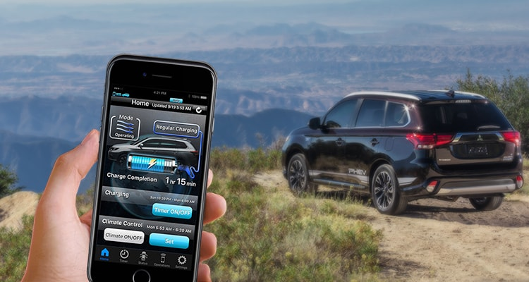 Download the free Outlander PHEV II app to your smartphone to control vehicle functions over Wi Fi. Preheat or cool the cabin, set the most efficient charge times and more from the comfort of your own home.