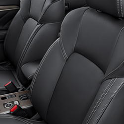 Close up of the comfortable front seats in the 2019 Mitsubishi Outlander PHEV.