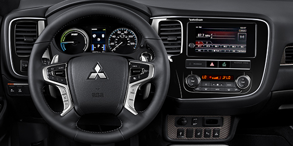 Close up view of the smart phone link display inside the 2020 Mitsubishi Outlander PHEV.