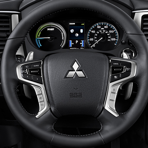 Close up of the 2019 Mitsubishi Outlander PHEV interior.