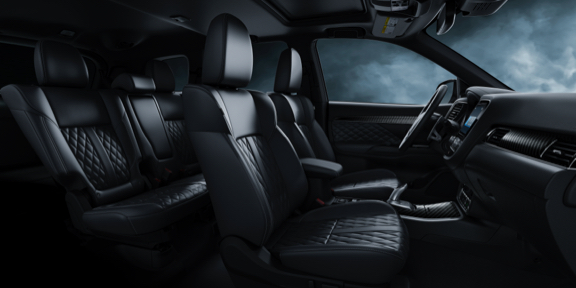 Black leather and diamond quilted seats and interior in the 2021 Mitsubishi Outlander PHEV electric SUV